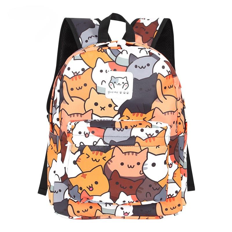 Batoh s potiskem koček – Hnědý
