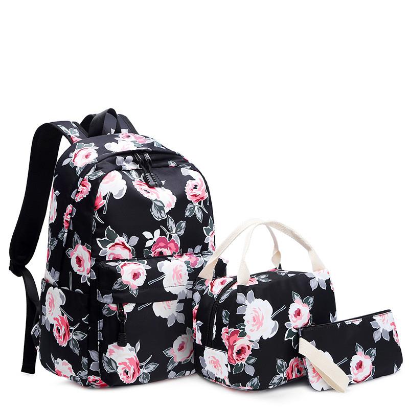 Školní batoh s potiskem růží – černý