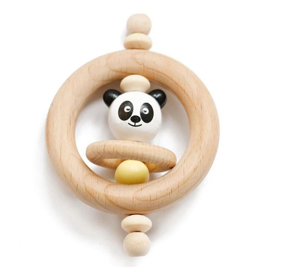 Dřevěné chrastítko s pandou