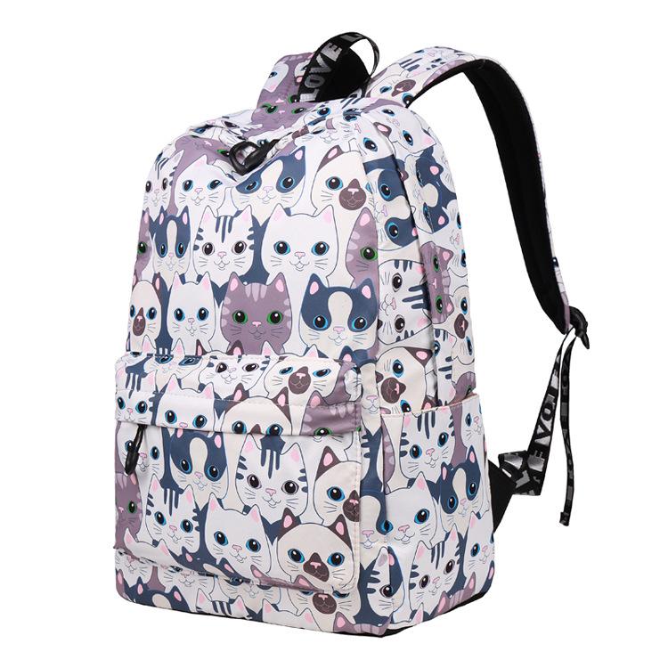 Voděodolný školní batoh s potiskem koček – šedý