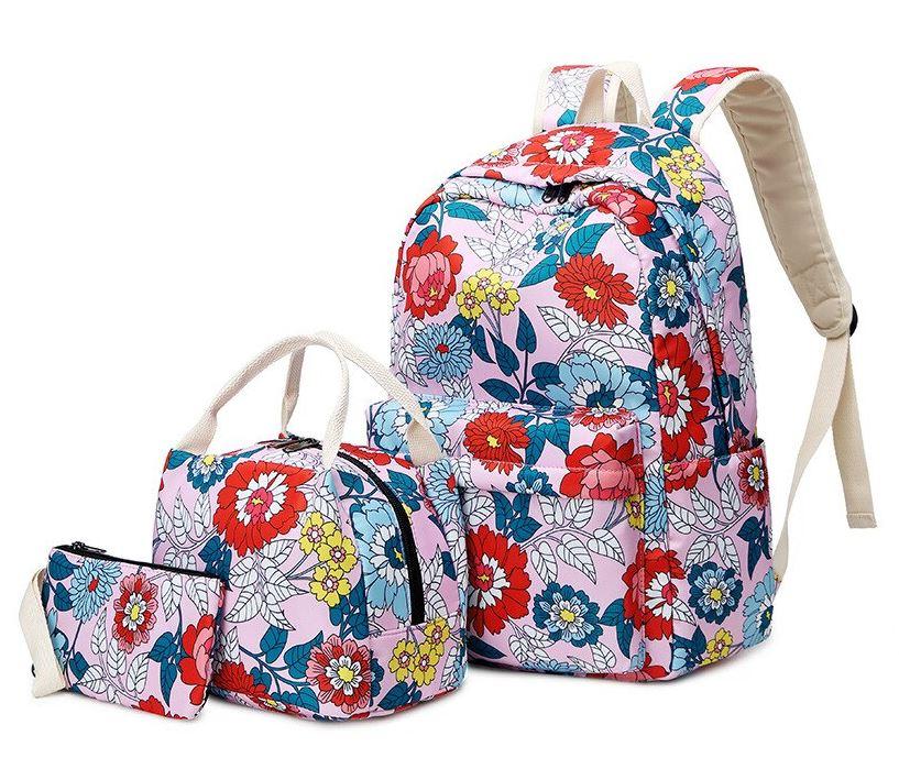 Školní batoh s potiskem květů – růžový