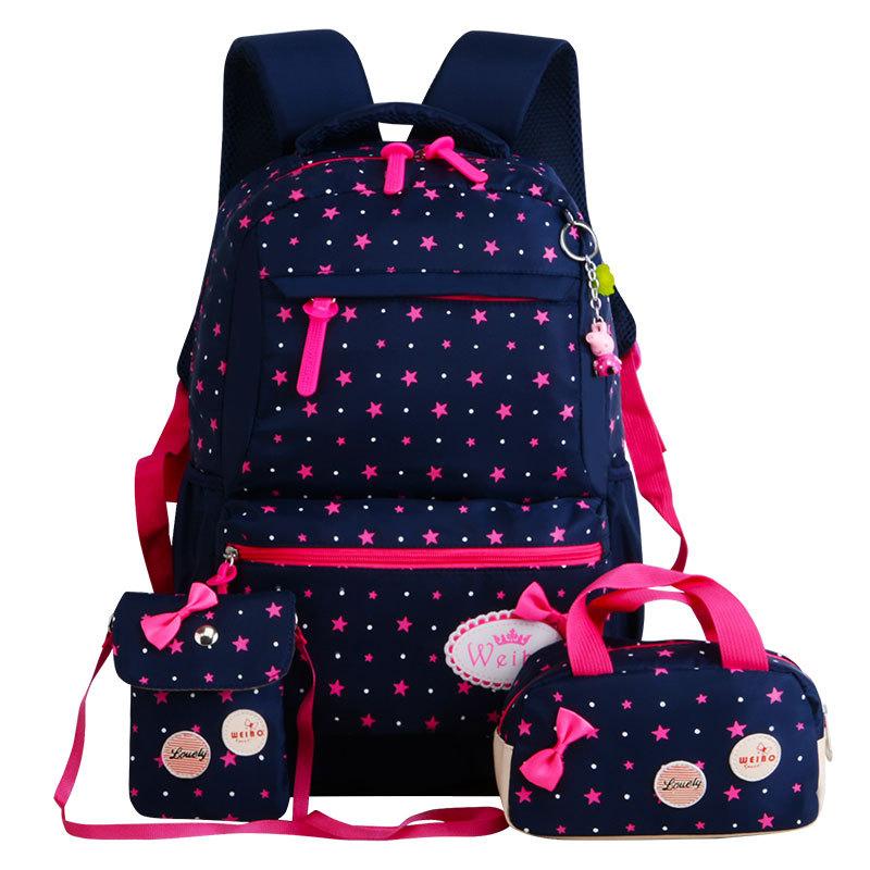 Stylový školní batoh potisk hvězd – Modrý