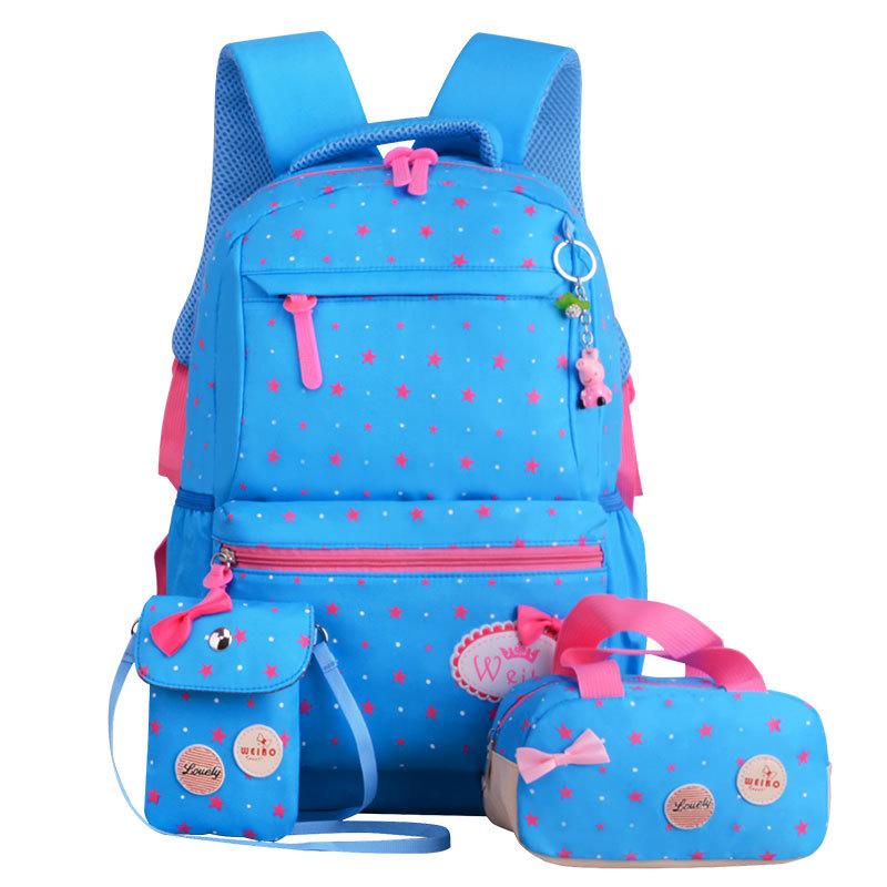 Stylový školní batoh potisk hvězd – světle modrý