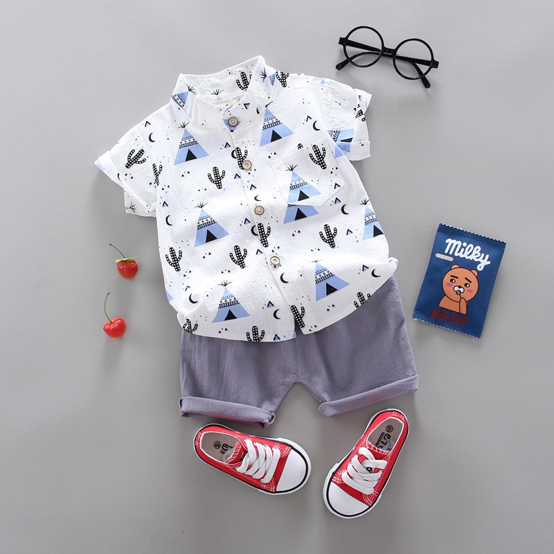 Letní chlapecký 2 – dílný chlapecký set s košilí