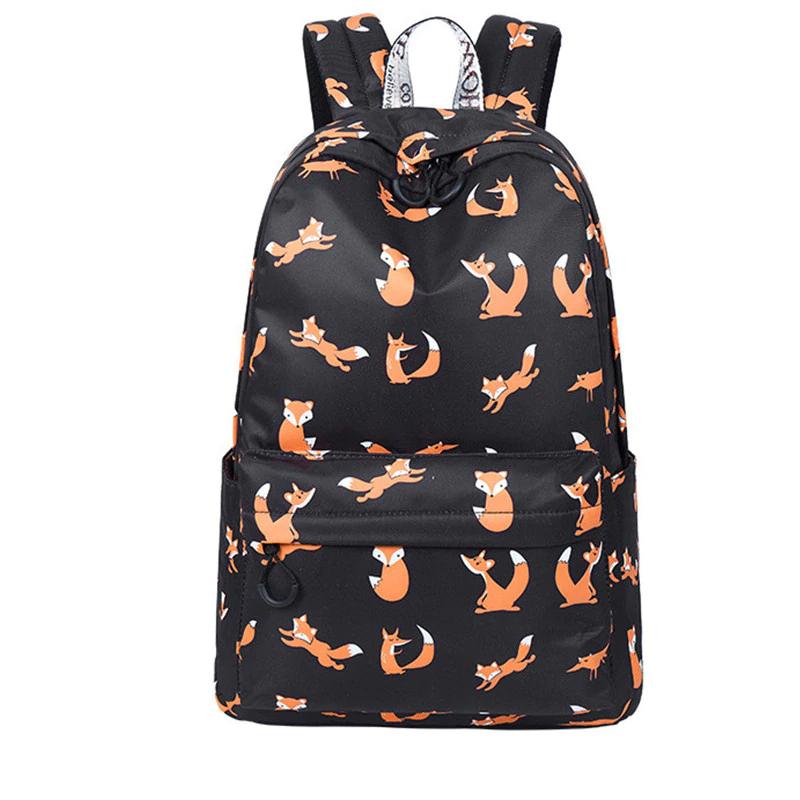 Školní plátěný batoh – potisk lišek