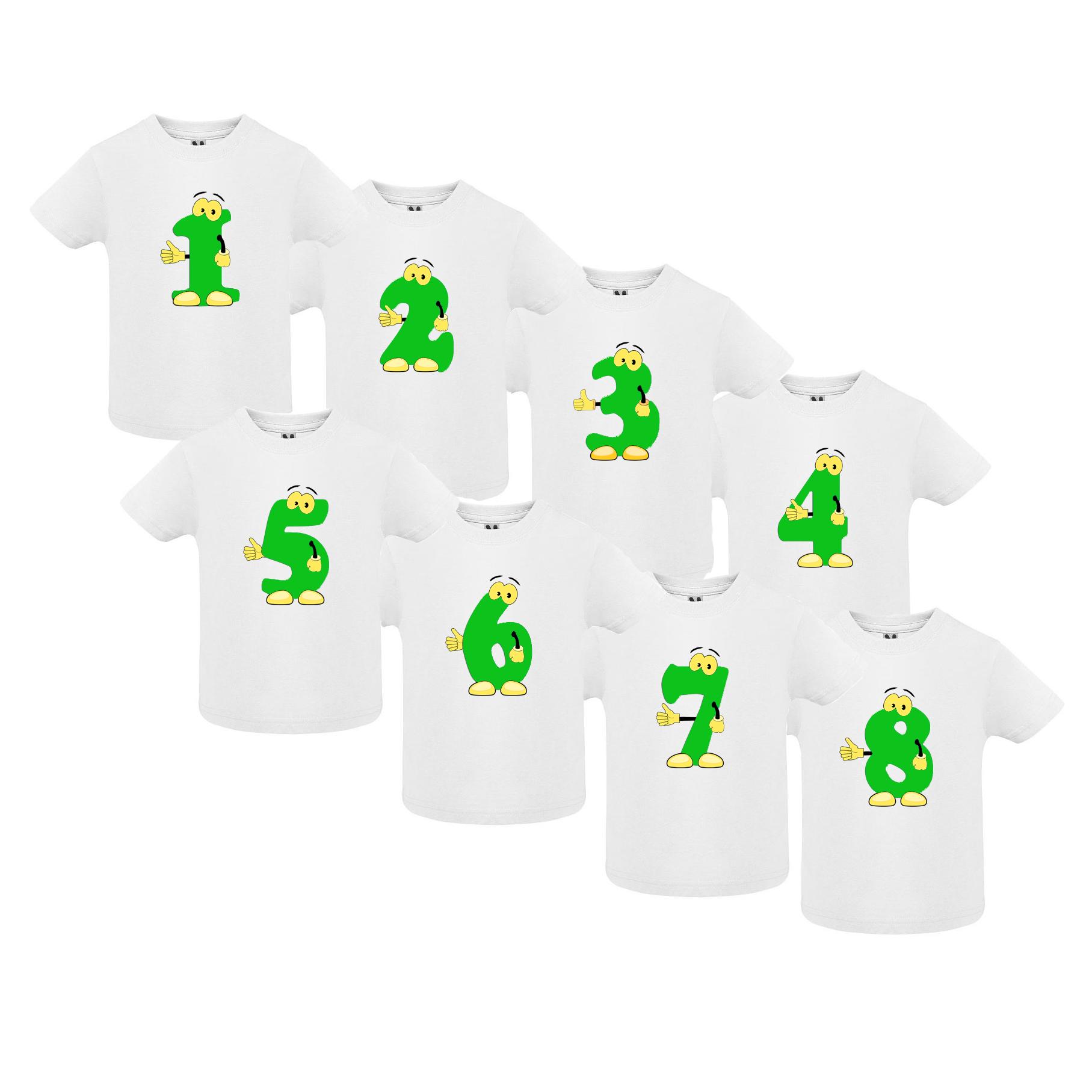 Narozeninové tričko s číslem – zelená postavička