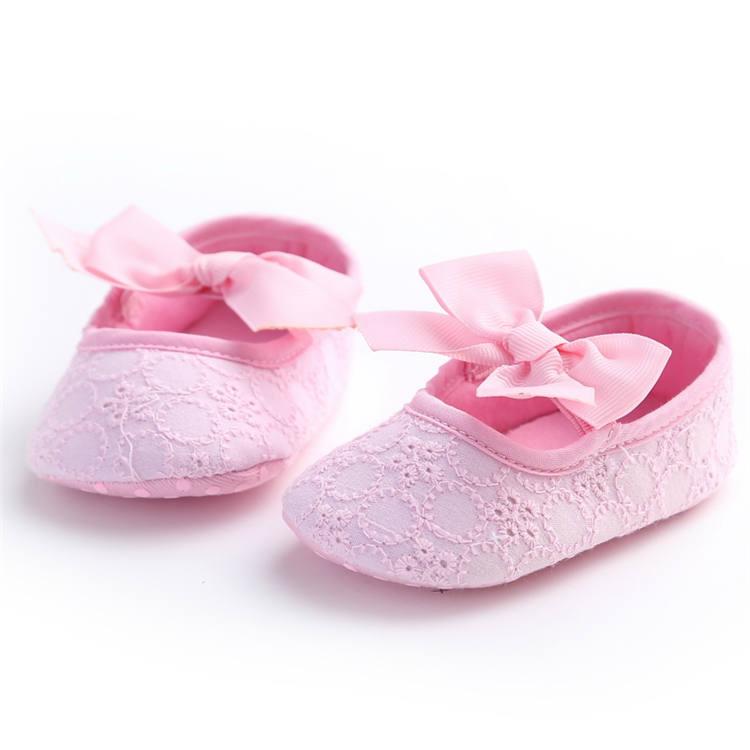 Plátěné balerínky s mašlí – růžové