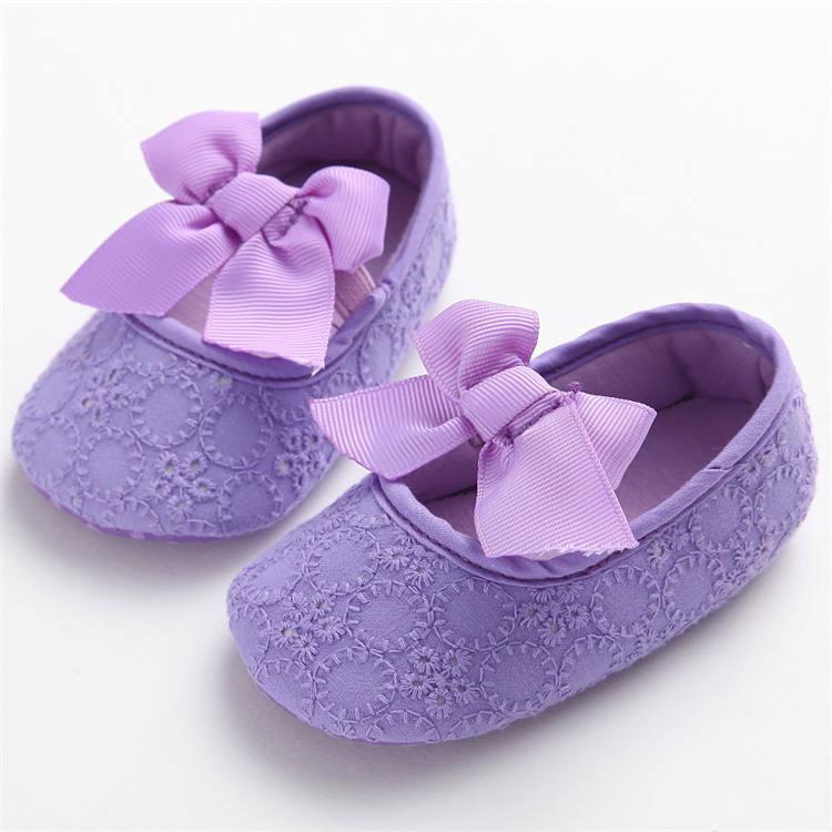 Plátěné balerínky s mašlí – fialové