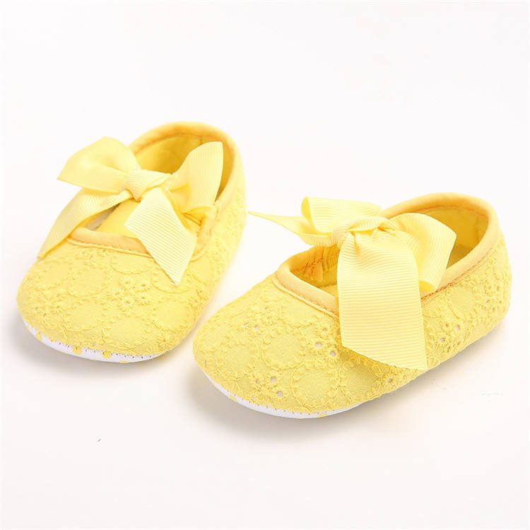 Plátěné balerínky s mašlí – žluté