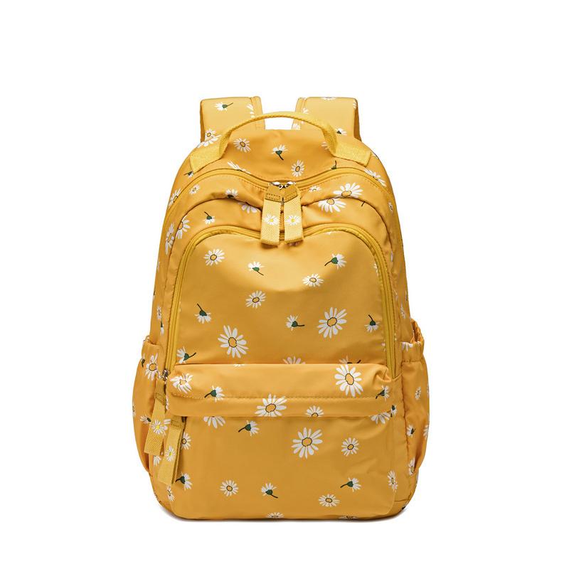 Školní plátěný batoh – žlutý se sedmikráskami