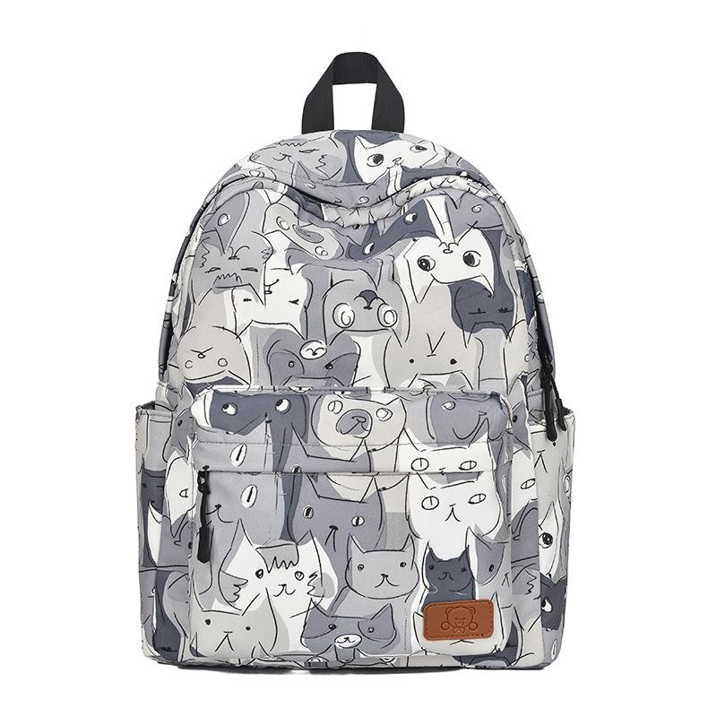 Šedý školní batoh s kočkami